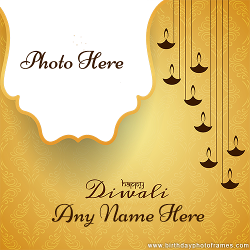 Happy diwali classy text card with name and photo