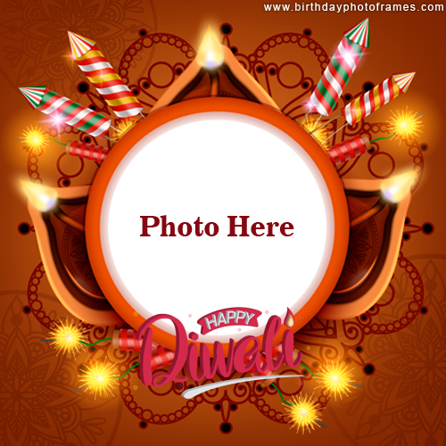 Happy diwali crackers and lighting card with photo