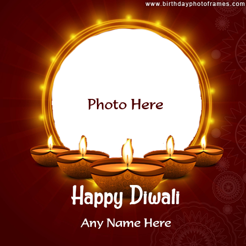 Happy diwali full of light image free card with name and photo