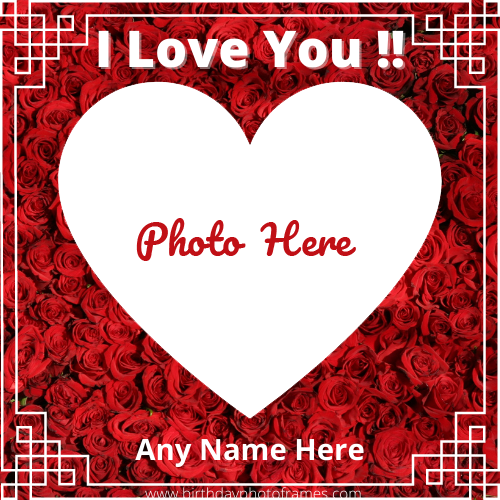 I Love Card with Name and photo online editor