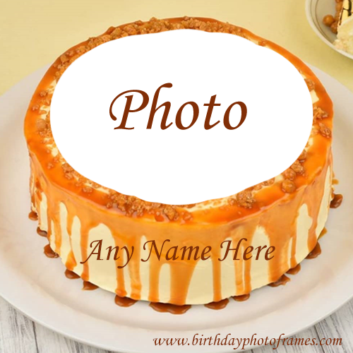 Lovely orange happy birthday cake with name and photo