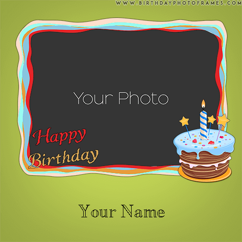 Lush Gree Birthday Greeting card with name and photo