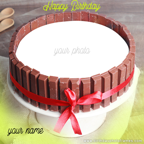 Make a Happy Birthday Chocolate Cake with Name and Photo