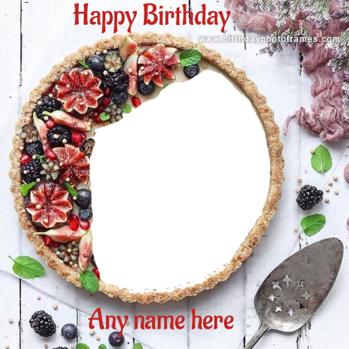 Make a beautiful Happy Birthday Cake with Name and photo
