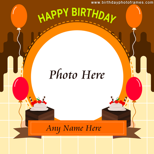 New Happy Birthday Card with Name and Photo Edit