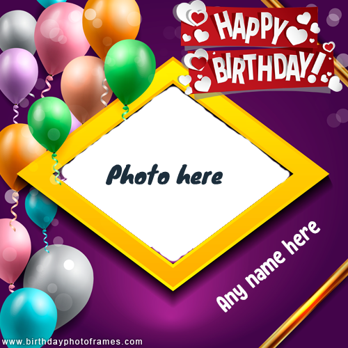 online birthday wish frame with name and photo