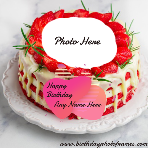 Online Happy Birthday Strawberry Cake With Name And Photo Edit