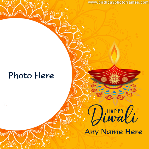 Online Happy Diwali Photoframe making with name