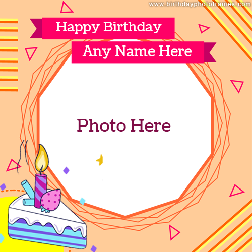 Photo frame with Happy Birthday Greeting and photo edit