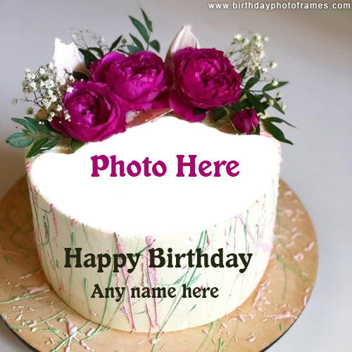 Pink Flowers Birthday Cake With Name and Photo edit