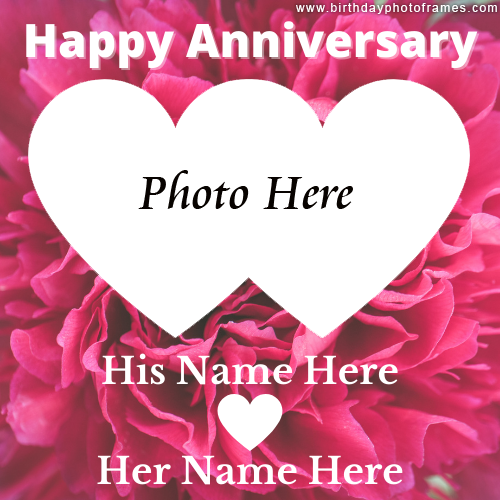 Pink Rose Anniversary Card with Name and Photo