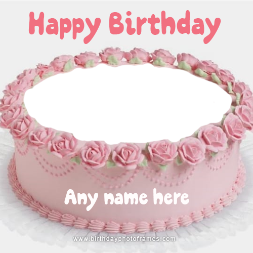 Pink rose decorated Happy Birthday Cake with Name and photo