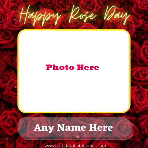 Rose Day Card with his and her names and Photos frames