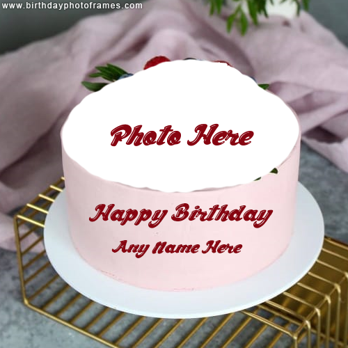 Strawberry Birthday cake with Name and Photo editor