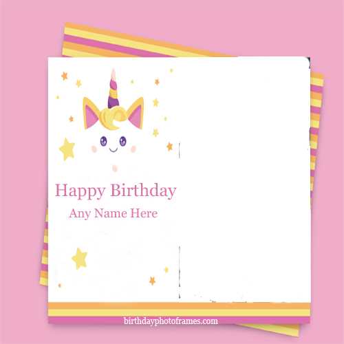 Unicom birthday greeting card with name and photo free online