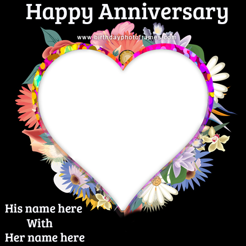Wedding Anniversary Card with Name and Photo free edit