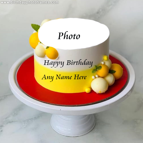 White And Yellow Happy Birthday Cake with Name and Photo