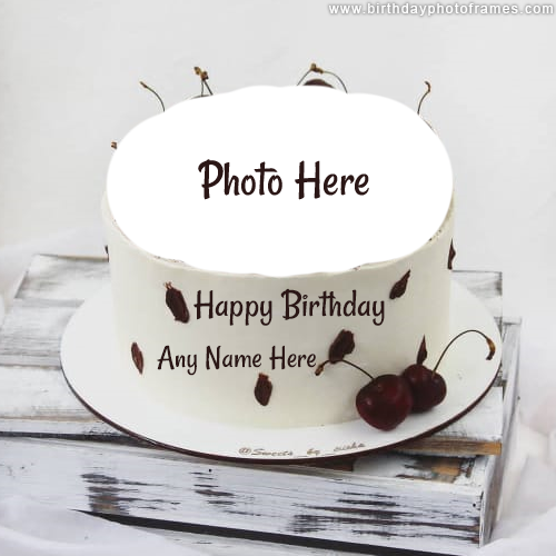 White Birthday Cake for Best Birthday Wish with Name and Photo