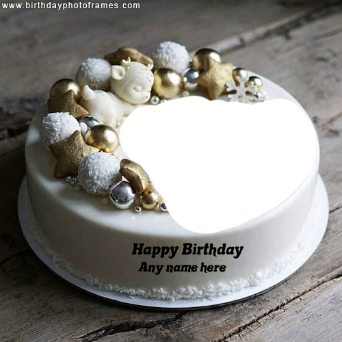 Write Name on Happy Birthday Cake with Photo
