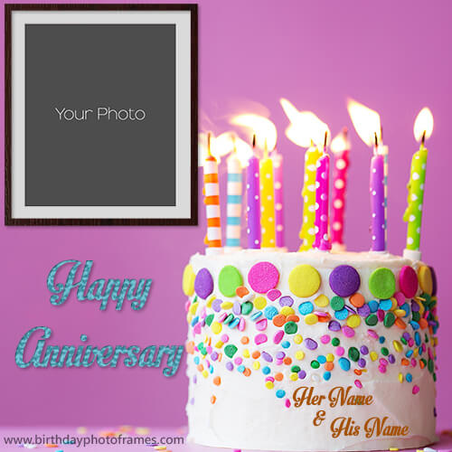 anniversary cake with name and photo editor online