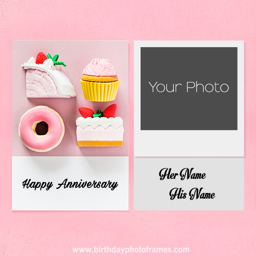 anniversary cakes with name and photo