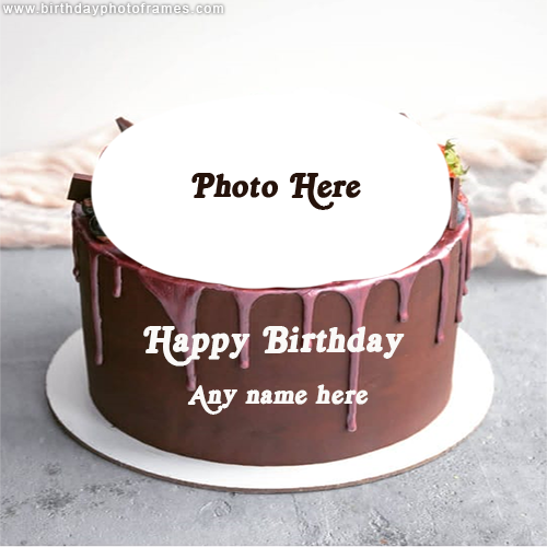 birthday chocolate cake with name and photo editor online