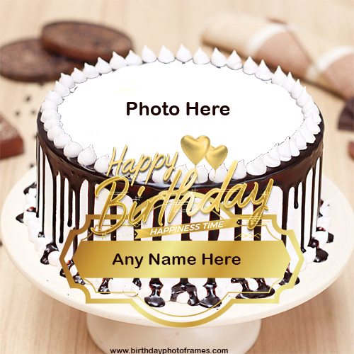 chocolate cake with name and photo edit