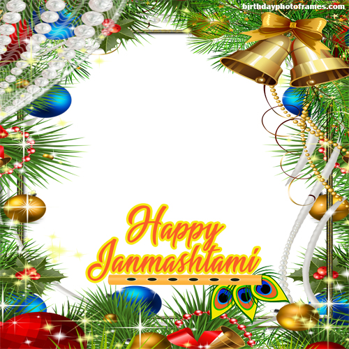 create a happy janmashtami greeting photo frame