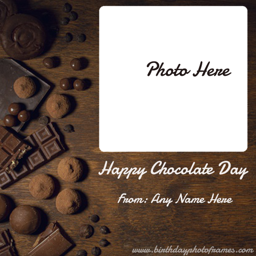customized Happy Chocolate Day Card with Name and Photo