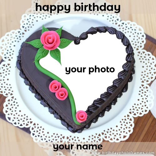 happiest birthday ever with Chocolate cake with name and photo