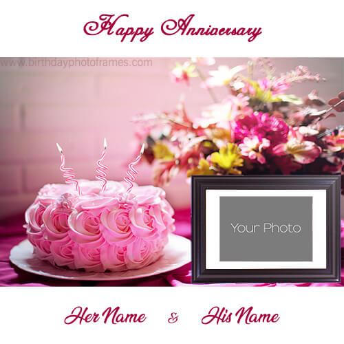 happy anniversary cake with photo edit