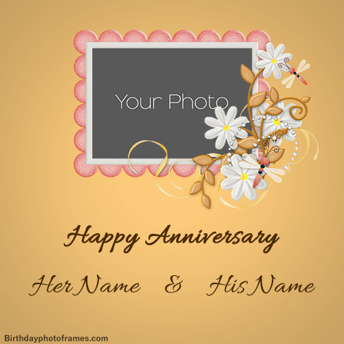 happy anniversary card with name edit