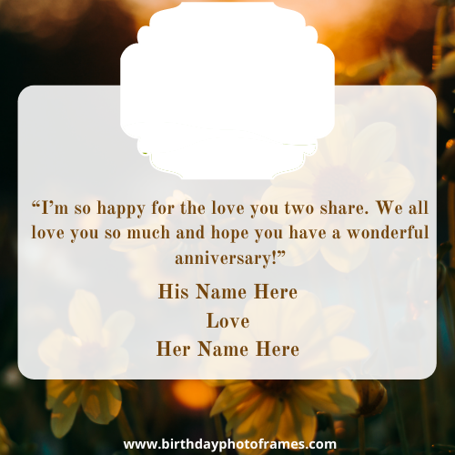 happy anniversary card with photo and name edit online