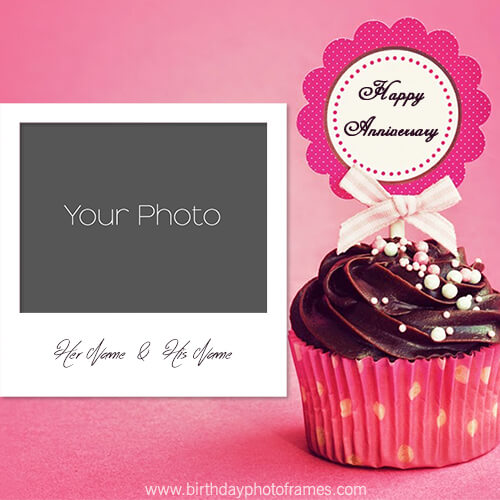 Anniversary Cake With Name And Photo Edit Birthdayphotoframescom
