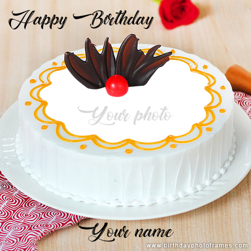 happy birthday cake edit with name and photo