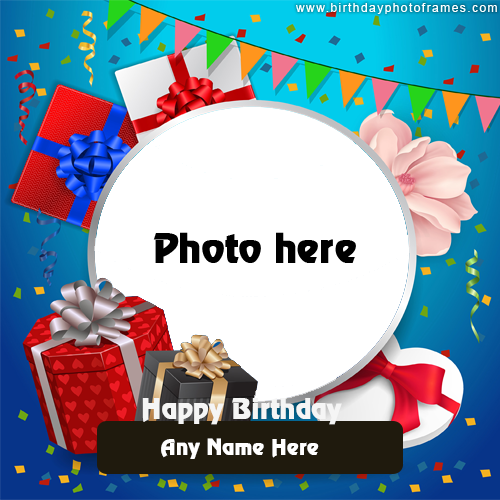happy birthday card with name and photo edit online free