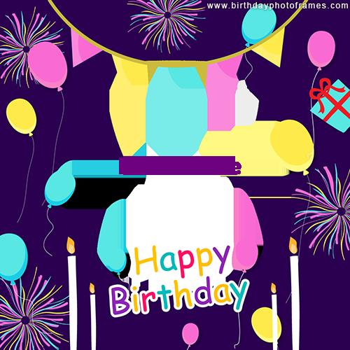happy birthday wishes photo frame online