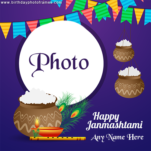 happy janmashtami card with name and photo free download