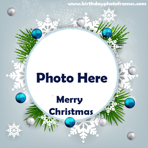 happy merry christmas wishes photo frame download