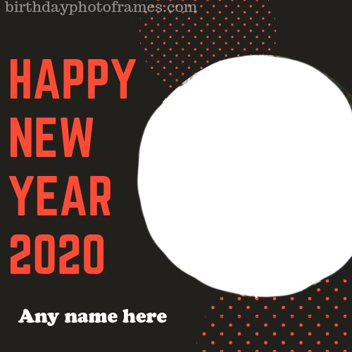 happy new year 2020 greeting card with name and photo