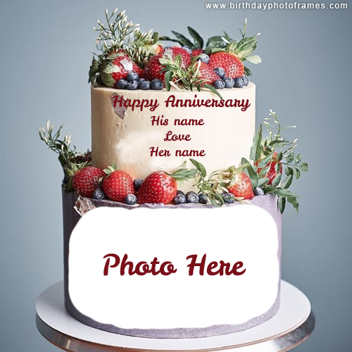 happy wedding anniversary cake with name and photo