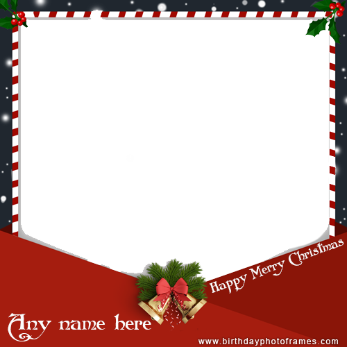 merry christmas greeting card with name photo free editor