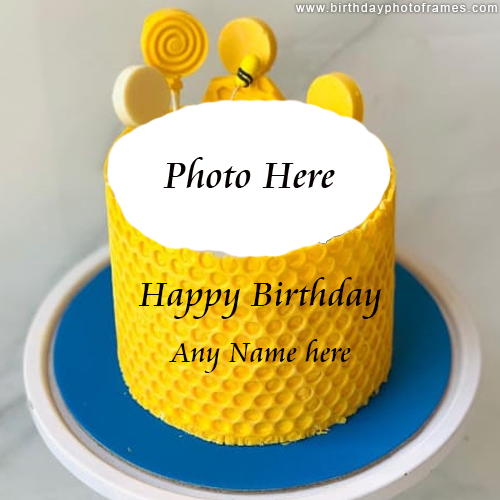 personalized happy birthday cake with name and photo image
