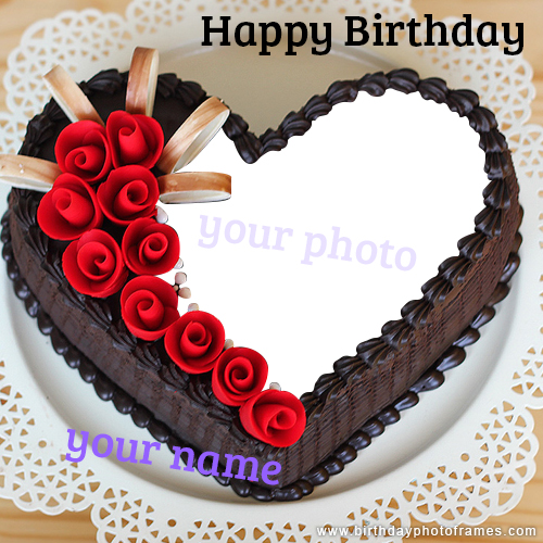 romantic and lovely birthday cake with name and photo edit