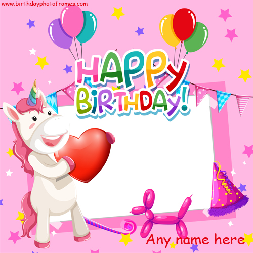 unicorn birthday wishes card with photo and name