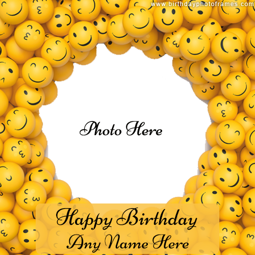 unique smiley face happy birthday card with name photo edit