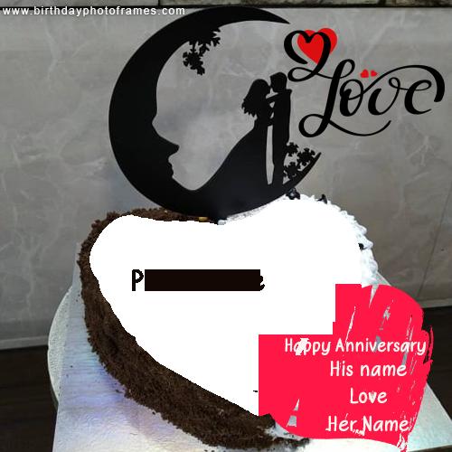 wedding anniversary cake with name and photo