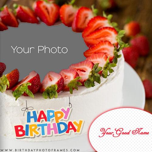 Wondrous Customized Strawberry Birthday Cake With Photo And Name Wish Funny Birthday Cards Online Hendilapandamsfinfo