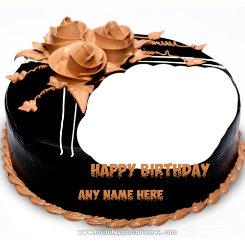 Outstanding Happy Birthday Chocolate Cake With Name And Photo Edit Online Funny Birthday Cards Online Fluifree Goldxyz